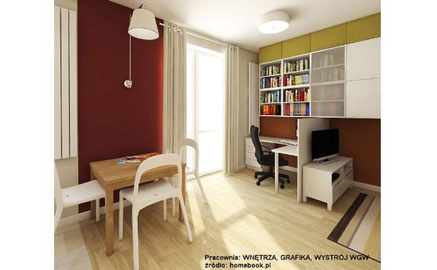 Wnętrza - biuro w salonie