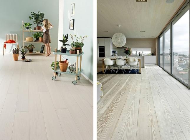 Biała drewniana podłoga