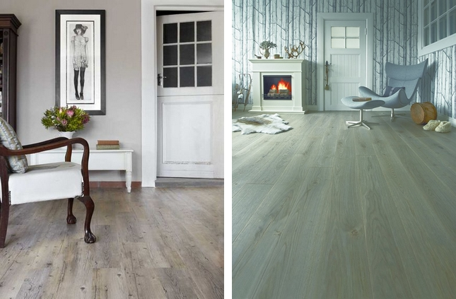 Podłoga z szarego drewna
