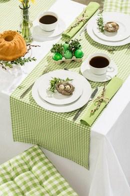 Dekoria., bieznik w zielono-biala krateczka kolekcja Quadro