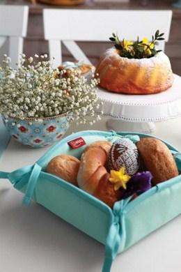 Dekoria koszyk na pieczywo, pastelowa mieta, kolekcja Loneta
