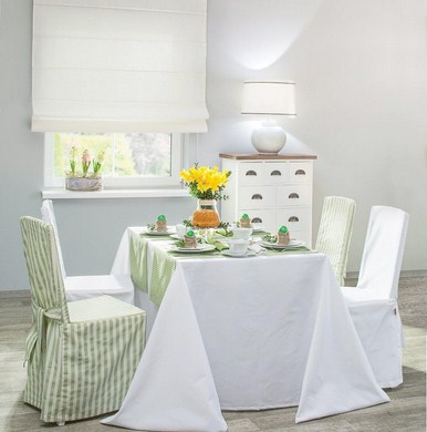 Dekoria, sukienka na krzeslo, zielono biale pasy, kolekcja Quadro