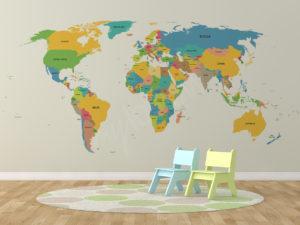 Fototapeta do pokoju dziecka mapa świata