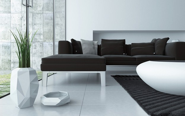 Modern grey and white living room interior